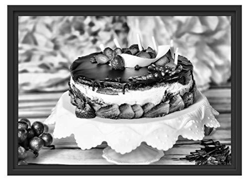 Picati heerlijke aardbeiaartaarten in schaduwvoegen fotolijst | kunstdruk op hoogwaardig galeriekarton | hoogwaardige afbeelding op canvas alternatief 55x40