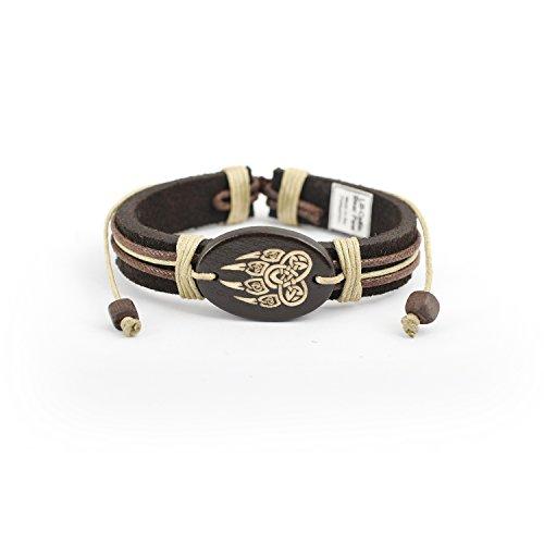JewelryVolt Adjustable Genuine Leather Bracelet - Celtic Bear Paw
