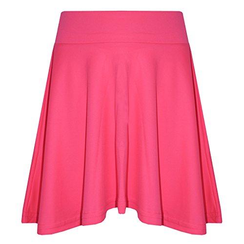 A2Z 4 Kids Mädchen Rocks Kinder Schule Mode Sommer - Plain Skater Skirt Neon Pink 11-12