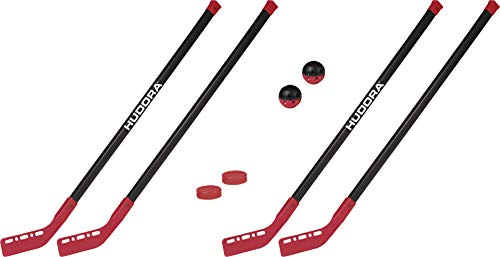 HUDORA Street Hockey-Set Junior - 2 Street-Hockeyschläger + 1 Hockey-Ball + 1 Hockey-Puk, 2 Paar