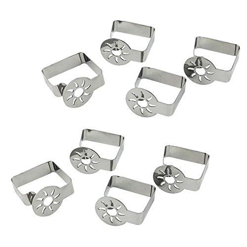 COM-FOUR® pinces à nappe 8x premium en acier inoxydable, pinces de table pour l'intérieur et l'extérieur, avec décor sur les pinces de la table (08 pièces/soleil)