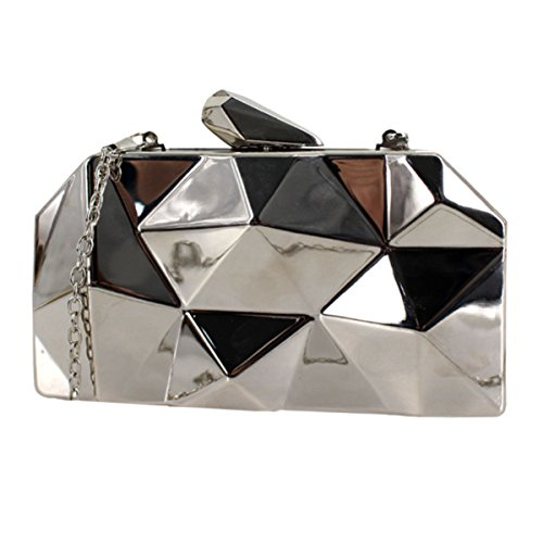 Van Caro Womens Metal Clutch Geometric Evening Handbag Diamond Chain Purse, Silver
