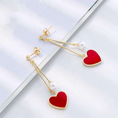 MAYL Precioso corazón rojo pendientes largosS925 plata (oro 2021)