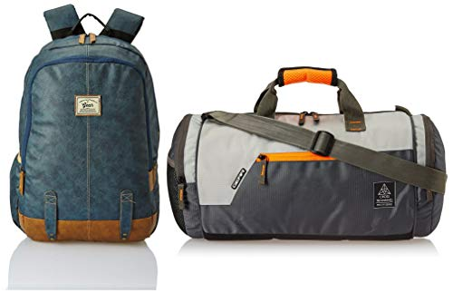 Gear Classic Anti Theft Faux Leather 20 Ltrs Navy Laptop Backpack (LBPCLSLTH0519) and Polyester 38 cms Grey Travel Duffle (DUFCRSTNG0406)