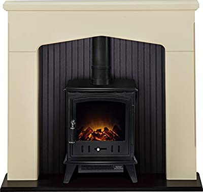 Adam Ludlow Stove Suite in Stone Effect with Aviemore Electric Stove in Black, 48 Inch