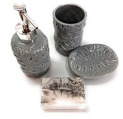 Florex - Set de baño (4 piezas, jabonera, dispensador de jabón y vaso para cepillos de dientes de Clayre & Eef y jabón de leche de oveja)