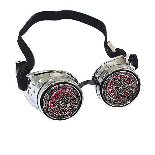 Glasses KING Vintage Steampunk Goggles Glasses with Silver Flower Pattern Pink Lens, Silver Frame