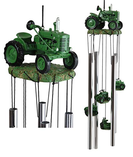 Ebros Gift Old Fashioned Vintage Country Agricultural Farm Green Tractor Model Resonant Relaxing Wind Chime Patio Garden Accent of Rustic Countryside Farming Cottage Theme