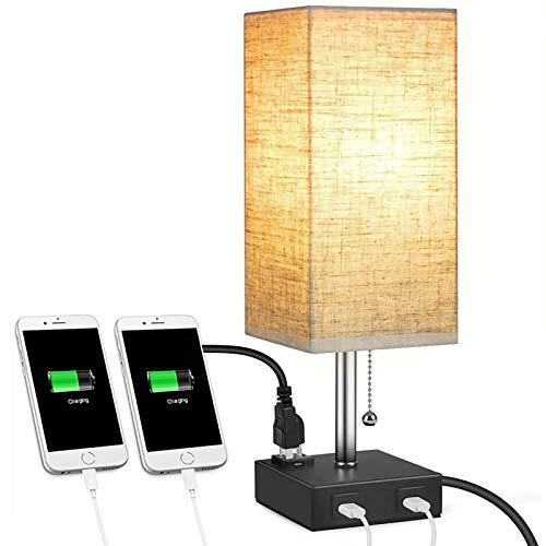 WOERD Lámpara de Mesa para Dormitorio Lampara Mesilla de Noche LED con 2 Puertos de Carga USB E26 Base LED Lámpara de Escritorio para Salón Habitación de Los Niños Dormitorio