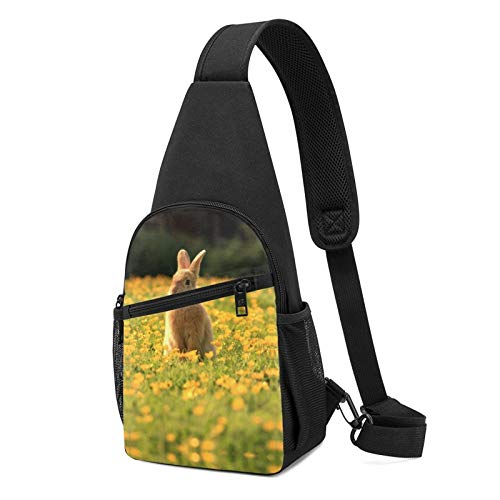 794 Yellow White Rabbit Sling Bag Chest Shoulder Backpack Crossbody Bags for Men Women Black