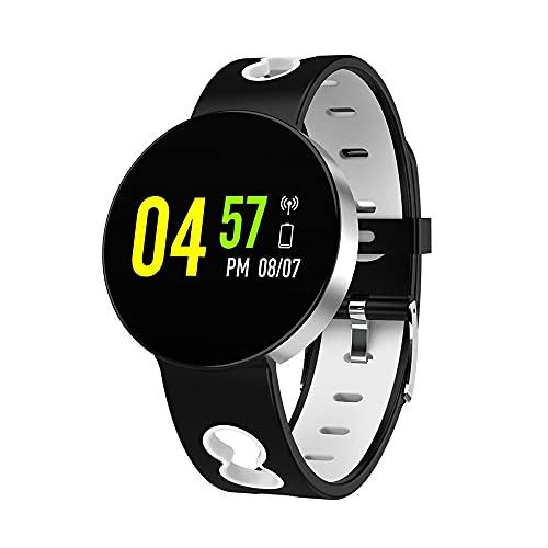Jumaomaoyi - Pulsera de reloj inteligente de doble color, monitoreo del sueño, frecuencia cardíaca y presión arterial, elegante pulsera deportiva de pantalla grande (color: plata y blanco)