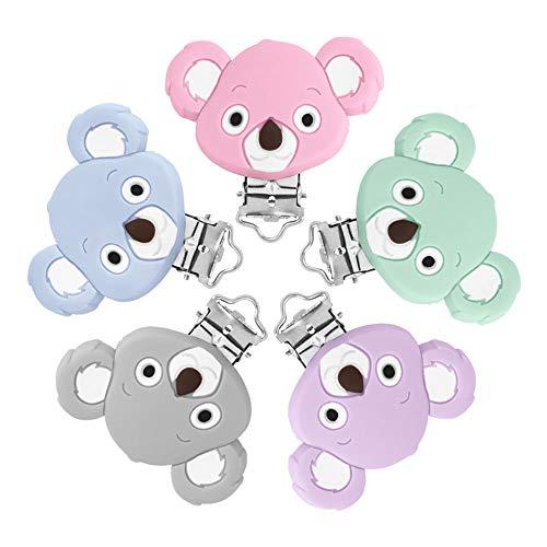 RUBY -5pcs Schnullerclip Silikon, Schnullerkette Clip, Schnuller Clips, Baby Schnuller Clip, Pinzette Silikon Schnuller Mit Speziellem Clip für Baby, Baby Spielzeug Zubehör (Koala)