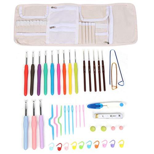 Juego de ganchos de ganchillo, 12 piezas, tamaño completo, colorido, ergonómico, goma suave, cómodo, agarre, kit de agujas de tejer de ganchillo, herramienta para el hogar con bolsa de almacenamiento