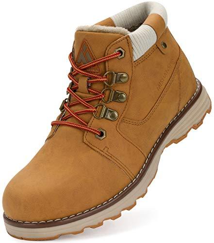 Mishansha Męskie buty zimowe z ciepłą podszewką, damskie buty trekkingowe, wodoodporne, antypoślizgowe, buty zimowe do aktywności na świeżym powietrzu, żółty - Żółty damski - 38 EU