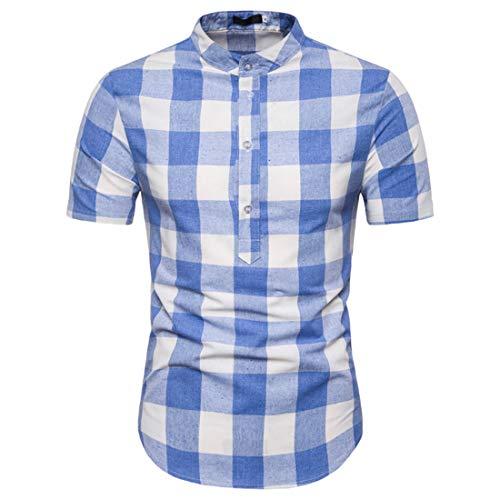 Manga Corta Hombre Moda Botón Placket Collar Pie Hombre Camiseta Verano Cuadros Estampado Manga Corta Shirt Básica Urbana Casual Acampar Hombre Casuales Camisa C-Blue S