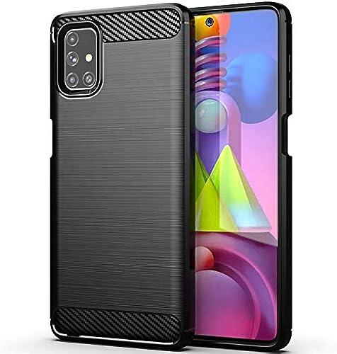 Webkreature Shockproof Hybrid TPU Carbon Fiber Case Back Cover For Samsung Galaxy M51 Hybrid Black Samsung Galaxy M51