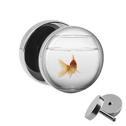 Treuheld® Goldfisch Ohrstecker | Fake Plug Ohrring | Chirurgenstahl | 1,2mm x 10mm | Silber/Weiß/Orange | Motiv Fake Tunnel | Fisch im Aquarium