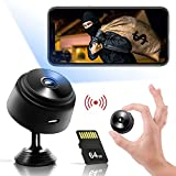 Hidden Camera with Audio Live Feed WiFi - Mini Spy Camera USB Wireless Cam 1080P Full HD Security Cams Indoor Car Surveillance Camera - Nanny Cam - with 64G SD Card