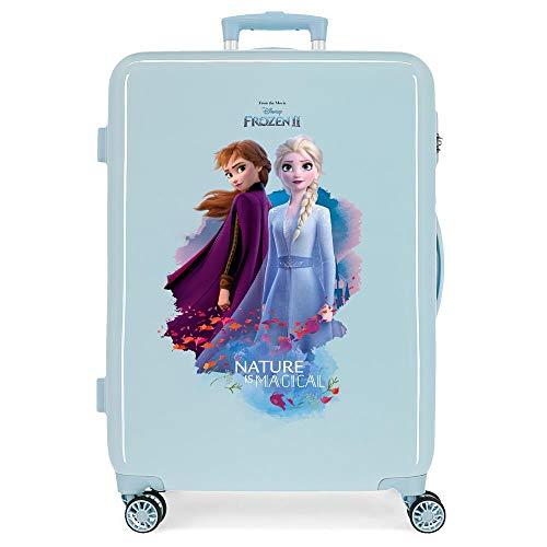 Disney Frozen Die Eiskönigin Nature is magical Mittlerer Koffer Blau 48x64x26 cms Hartschalen ABS Kombinationsschloss 61L 3,4Kgs 4 Doppelräder