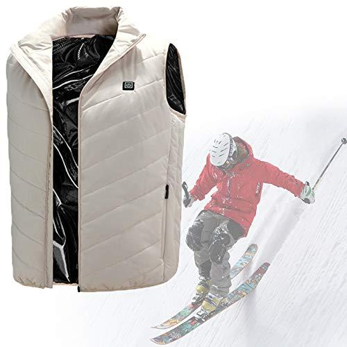 HTDHS Chaleco eléctrico calefactor, chaqueta cálida de 8 horas de duración de la batería con batería de carga, chaleco calentado para invierno, caza, deportes al aire libre (color blanco, tamaño: XL)