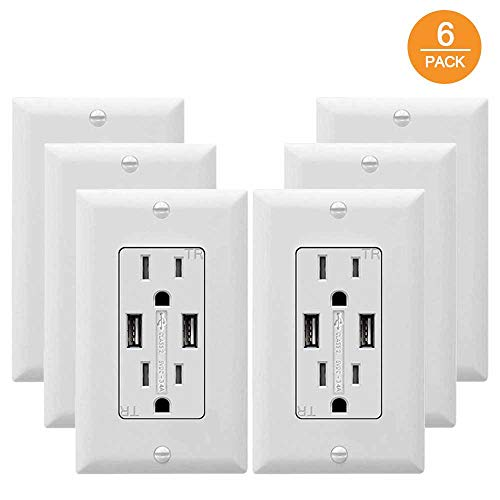 SZICT USB Outlet Receptacle, 6 Pack 3.4A USB Wall Outlet High Speed Charging 15A Tamper Resistant Receptacle, UL-Listed, White (3.4A/15A 6P)