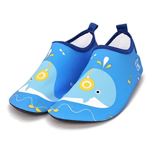GDSSX Zapatos flotantes para niños de secado rápido zapatos de playa antideslizantes zapatos de natación de suela gruesa zapatos de agua para niños (color: ballena azul, tamaño: 34 – 35)