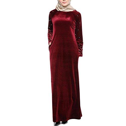 Doulehero Damen Elegante Muslimische SAMT Kleider,Herbst Langarm Roben Kaftan Länge Locker Rundhals...