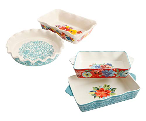 The Pioneer Woman Flea Market 2-Piece Pie Plate Set bundle with The Pioneer Woman Spring Bouquet 2-Piece Baker Set