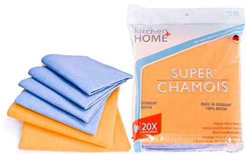 Super Chamois - Super Absorbent Shammy Cleaning Cloth Value 6 Pack - Holds 10x It's Weight in Liquid
