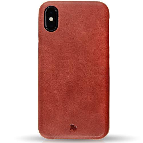 BULLAZO Menor Classic, Hochwertige Hülle aus Leder, Kompatibel mit iPhone X 10 XS 10S, Korallenrot