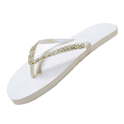SUGAR ISLAND®Ladies Girls Diamante FLIP Flops SANDALS-WHTDIAM-7/8
