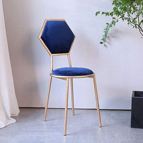 Accueil Fer Art Chaise métal Chaise Salle à Manger des ménages Décoration créative Café de Table et chaises Girl Makeup Chambre Chaise Loisirs Lecture Chaise (Color : Blue)