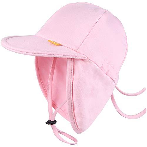 FURTALK Baumwolle Baby Kleinkind Sonnenhut UPF 50+ Ganztägiger UV-Schutz Kinder Unisex Mädchen & Jungen Sommerhüte Kappe mit verstellbaren Kinnriemen Nackenklappe Gr. Small, rose