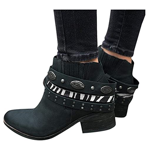 Woolkey Ankle Booties for Women Western Cowgirl Short Mid Calf Boots Round Toe Mid Chunky Heel Retro Buckle Studded Warm Work Winter Boots for Ladies Autumn Winter Party Travel (Black, 8.5)