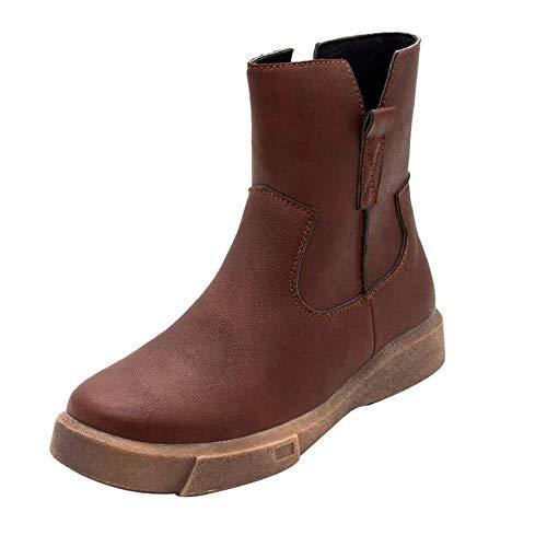 ZARLLE_Botas Botas tacón cuña Altos para Mujer Otoño Invierno 2018 Cuero de Planas con Cremallera Baja Botas de Tubo Medio Zapatos Casuales Boots Zapatos Botas de Nieve para Mujer