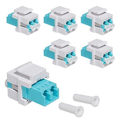 kwmobile 6X Keystone optisches Netzwerkkabel Modul - Kupplung Multimode Glasfaser - Anschluss für LC-Duplex Kabel an Patchpanel oder Anschlussdosen