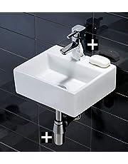 Cuadrado de pared lavabo de cerámica con cuadrado grifo mezclador monomando para y residuos