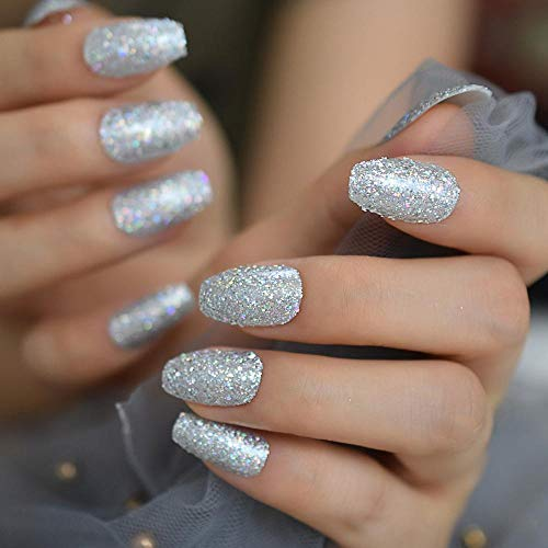 CLOAAE Medium Coffin Nail Kits Holo Glitter Silver Full Cover Ballerina Fake Nails Clip Art Glamor Nail Art Tips 24 Pcs