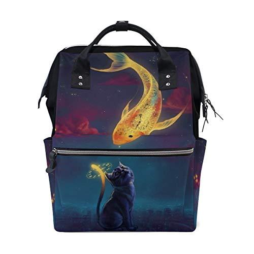 FANTAZIO Mummy Bag Backpack Clock Golden Fish Cat Pattern School Bag