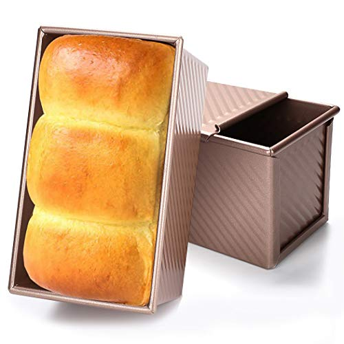 Baking Toast Pan, JUSTDOLIFE Bakeware Loaf Pan Aluminum Alloy Bread Baking Mold Tin Pan Toast Box with Lid for Home Kitchen Toast Baking