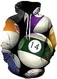 ZJIIXON Impresión de suéter 3D,Uniforme de béisbol de la Chaqueta de los Pares de los billares Deportivos para la Capa Superior del Estudiante-As_Shown_XL