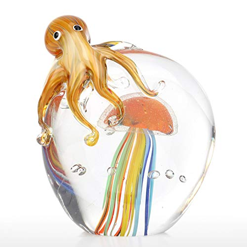 Tooarts Color Octopus and Jellyfish Sculpture Handmade Glass Ornament Animal Artwork Home Decor Gift Craft Decoration