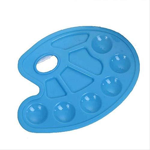 SMQHH Bandeja de plástico Paleta Antiadherente Bandeja, de 10 Hoyos de plástico de fácil Lavado Arte de la Acuarela Acuarela Paleta (Color : Blue)