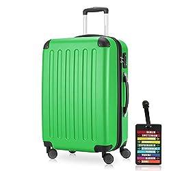 Hauptstadtkoffer - Spree Hartschalen-Koffer Koffer Trolley Rollkoffer Reisekoffer Erweiterbar, 4 Rollen, TSA, 65 cm, 74 Liter, Apfelgrün inkl. Design Kofferanhänger
