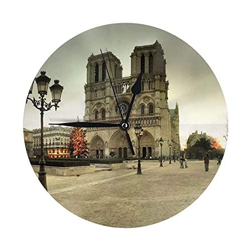 GOSMAO Round Wall Clock,Notre Dame De Paris,Hanging Clock Desk Clock Decorative Clock For Home School Office