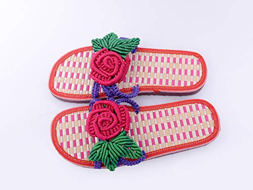 Greenf Women's Slippers, Home Slippers, Open Toe Slippers, Hand Woven Rose Pattern (Pink, 8.5)