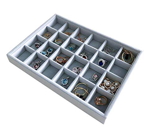 Multi Function Practical Drawer Organizer Jewelry Show Tray Home Store Premium Grade Grey Velvet Stackable Organizer Closet Storage Removable 24-Grid Jewelery Collection Protection Small Space Divider