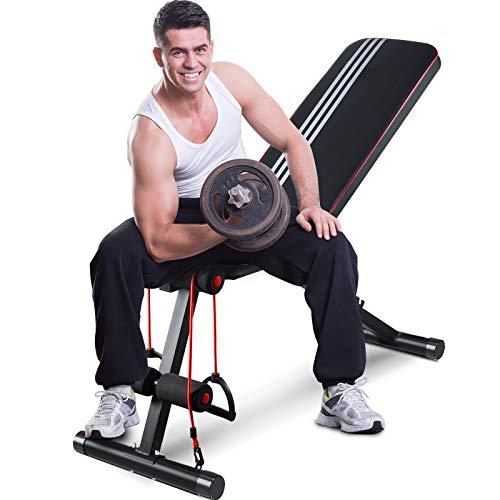 GOXIFAC verstellbare Hantelbank, faltbare Hantelbank für Ganzkörper-Workout, Mehrzweck-Neigung, zusammenklappbar, Gewichtheben, Bankdrücken, für Zuhause und Fitnessstudio