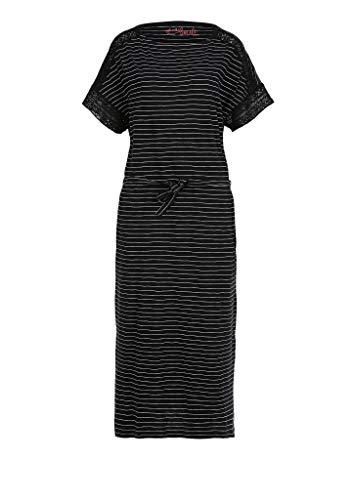 s.Oliver Damen Flammgarnkleid mit Häkelspitze black stripes 46