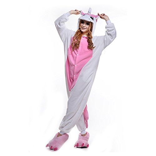 LPATTERN Unisex-Erwachsene Cosplay Pyjamas Onesie Tier Kostüm Schlafanzug Jumpsuit für Halloween Karneval, Rosa Einhorn, Medium (Korpergröße 160-169CM)